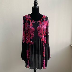 Free People Long Sleeve Black Floral Dress Medium